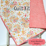 Kristin Blandford Designs Baby Quilt Kits Watercolor Floral Quilt Kit, Minky Whole Cloth Baby Cheater Panel, Simple Quick Easy Beginner Girl Blanket DIY Project Nursery Bedding Coral