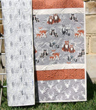 Kristin Blandford Designs Baby Quilt Kits Woodland Quilt Kit, Baby Boy, DIY Project, Forest Animals Hello Bear, Art Gallery Fabrics, Deer Fox, Simple Easy Beginner, Striped Pattern