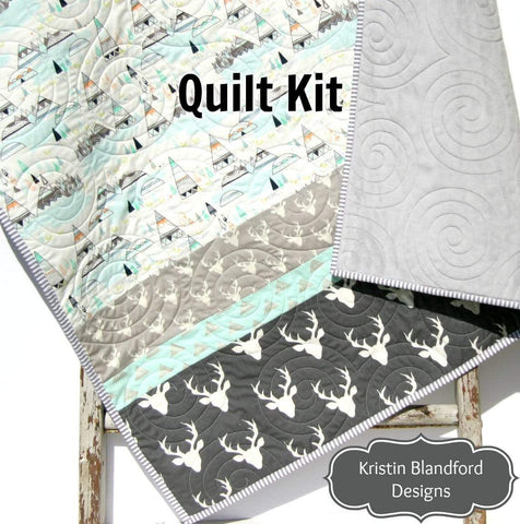 Kristin Blandford Designs Baby Quilt Kits Woodland Quilt Kit in Baby and Toddler Sizes, Indian Summer Teepee  Deer Bucks Boy Simple Quick Easy Strip Sewing Project Beginner Quilting
