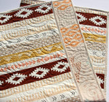 Kristin Blandford Designs Boy Quilts Arizona Tribal Aztec Quilt, Boy or Girl Baby Bedding Blanket, Brown Gold Modern Nursery Quilt