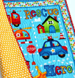 Kristin Blandford Designs Boy Quilts Baby Boy Quilt, Rescue Fire Police Ambulance, First Responders Nursery Bedding