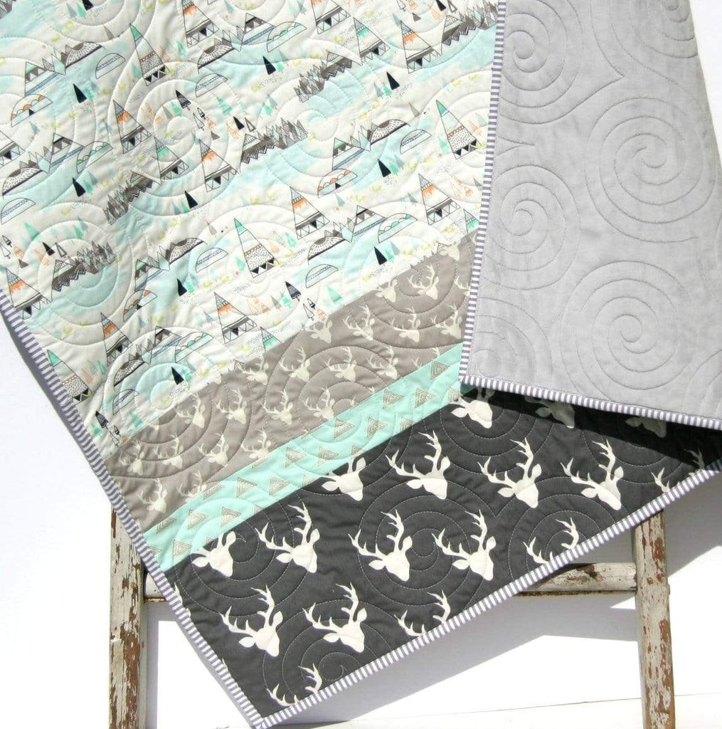 Kristin Blandford Designs Boy Quilts Baby Quilts Handmade, Personalized Gifts, Woodland Boy Nursery Decor, Toddler Blanket, Grey Deer Minky, Teepee Light Blue Aqua, Buck Stag