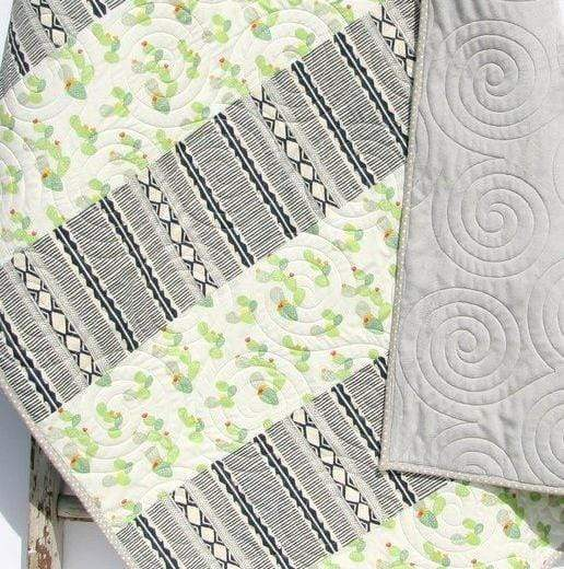 Kristin Blandford Designs Boy Quilts Baby Shower Gift, Cactus Nursery Decor, Handmade Quilt, Minky Baby Blanket, Succulent Crib Bedding, Boy or Girl, Aztec Tribal Soft Striped
