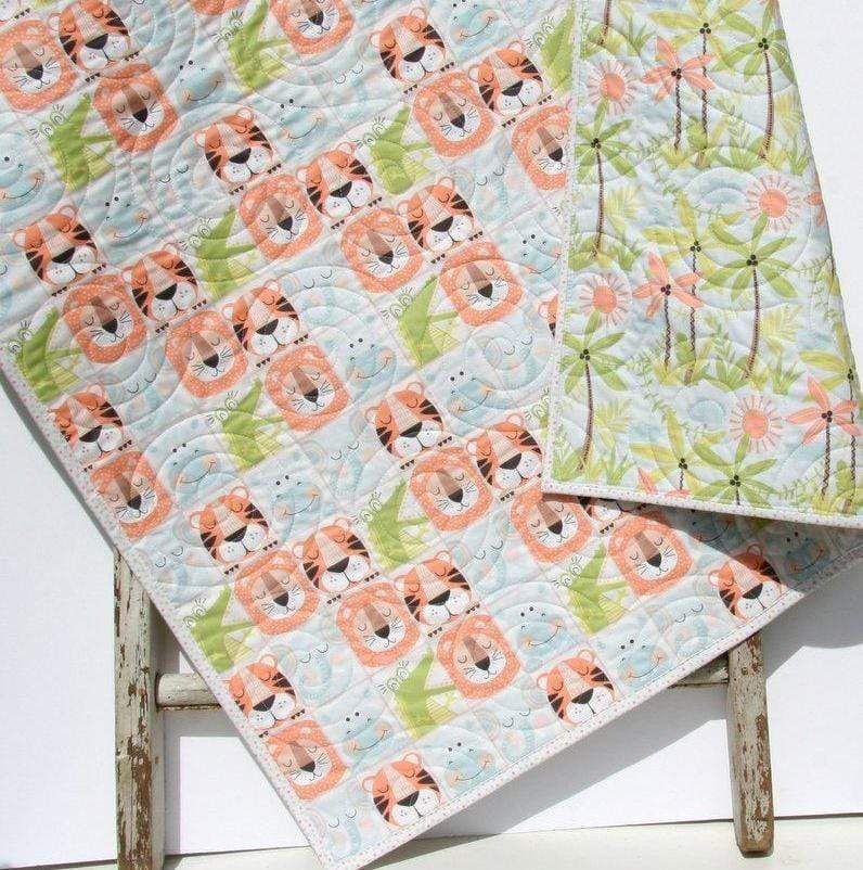 Kristin Blandford Designs Boy Quilts Blanket Baby, Pastel Quilt, Animals Nursery, Boy Girl Heirloom Gift, Infant Bedding, Crib Cot, Palm Trees, Lion Tiger Hippo, Elephant Pink