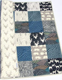 Kristin Blandford Designs Boy Quilts Boy Quilt, Woodland Boy Navy Blue Plaid Check Nursery, Deer Buck Baby Blanket, Boy Bedding