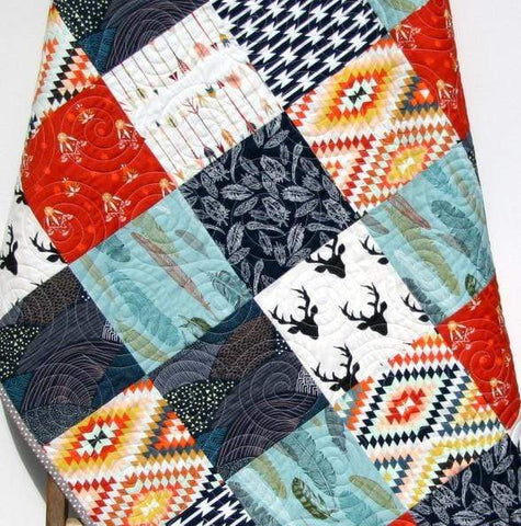 Kristin Blandford Designs Boy Quilts Buck Boy Quilt, Navy Red Nursery Toddler Bedding, Woodland Boy Quilt