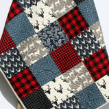 Kristin Blandford Designs Boy Quilts Buffalo Plaid Quilt, Navy Blue Red, Woodland Boy Lumberjack Plaid Nursery, Deer Baby Blanket
