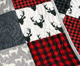 Kristin Blandford Designs Boy Quilts Buffalo Plaid Quilt, Woodland Boy Lumberjack Plaid Check Nursery, Deer Buck Boy Baby Bedding