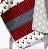 Kristin Blandford Designs Boy Quilts Buffalo Plaid Quilt, Woodland Lumberjack Plaid Check, Deer Buck Bear Boy or Girl Blanket