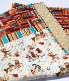 Kristin Blandford Designs Boy Quilts Cowboy Western Quilt Retro Vintage Looking Gender Neutral Blanket Horseshoe Roping Boy or Girl