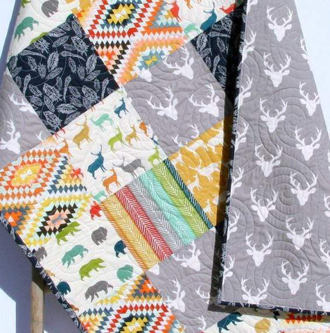Kristin Blandford Designs Boy Quilts Deer Quilt, Bright Colorful Baby Blanket, Toddler Bed Quilt, Nursery Bedding