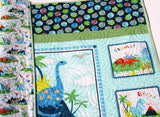 Kristin Blandford Designs Boy Quilts Dinosaur Baby Quilt, Baby Blanket, Nursery Crib Bedding Boy Navy Blue Brown Modern Nursery Bedding Trees T-Rex, Gift for Newborn Personalize