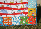 Kristin Blandford Designs Boy Quilts Dr Seuss Quilt, Bright Lorax, Baby Boy or Girl, Nursery Bedding Blanket, Newborn Gift