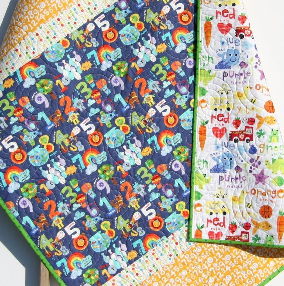 Kristin Blandford Designs Boy Quilts English Spanish Quilt, Numbers Baby Bedding, Color Crib Blanket, Boys or Girls, Neutral Nursery Decor Colorful Purple Yellow Red Green, Gift