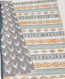 Kristin Blandford Designs Boy Quilts Gender Neutral Quilt, Toddler Baby Size, Aztec Tribal Grey Deer Buck