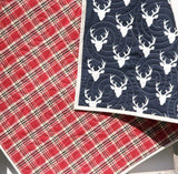Kristin Blandford Designs Boy Quilts LAST ONE Plaid Blanket, Deer Baby Quilt, Modern Bedding, Crib Cot Nursery, Woodland Buck, Toddler, Navy Blue Red, Lumberjack Flannel, Newborn Gift