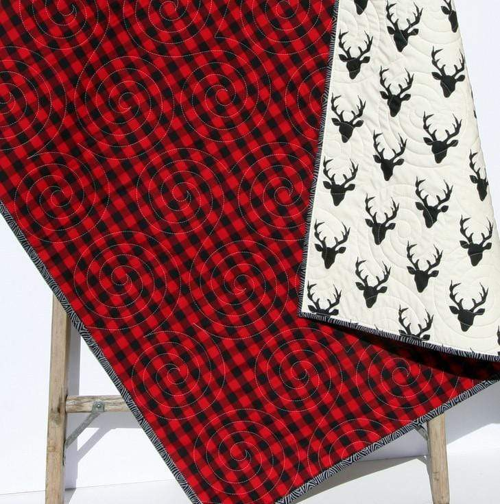 Kristin Blandford Designs Boy Quilts Lumberjack Plaid Quilt, Woodland Buffalo Plaid Check, Deer Buck Bear Boy or Girl Blanket