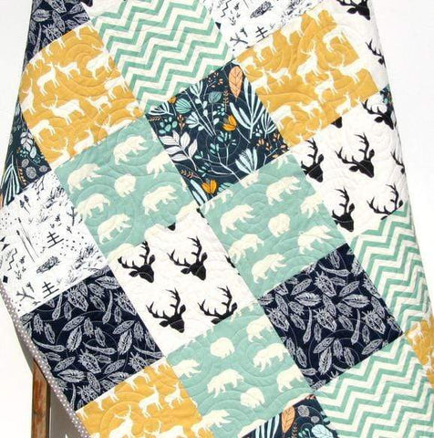 Kristin Blandford Designs Boy Quilts Modern Boy Quilt Yellow Navy Deer Buck Baby Toddler Handmade Woodland Blanket