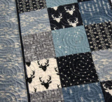 Kristin Blandford Designs Boy Quilts Modern Deer Boy Quilt, Handmade Crib Bedding, Navy Blue Baby Blanket