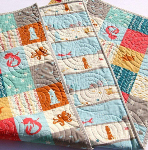 Kristin Blandford Designs Boy Quilts Nautical Baby Quilts, Modern Crib Quilt, Ocean Nursery Bedding, Sea Horse Blanket, Mermaid Scuba Diver, Neutral Boy Girl, Gift for Kids