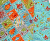 Kristin Blandford Designs Boy Quilts Nautical Baby Quilts, Modern Ocean Crib Quilt, Ocean Nursery Bedding, Whale Blanket Octopus Shark Crab Fish, Neutral Boy Girl