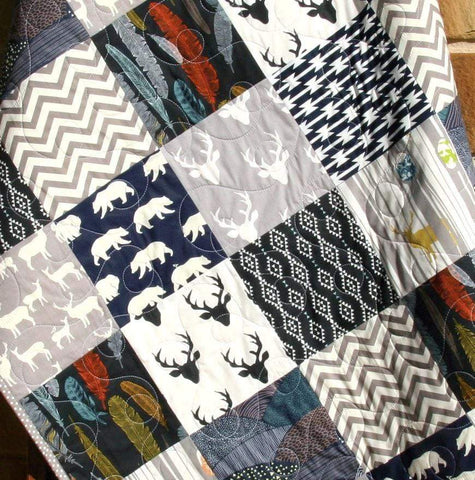 Kristin Blandford Designs Boy Quilts Navy Deer Boy Quilt, Handmade Crib Bedding, Toddler Blanket, Woodland Baby Nursery