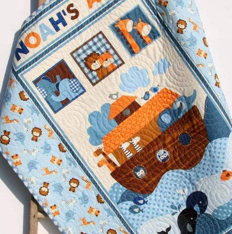 Kristin Blandford Designs Boy Quilts Noah's Ark Baby Quilt Biblical Religous Blanket Gender Neutral Crib Bedding