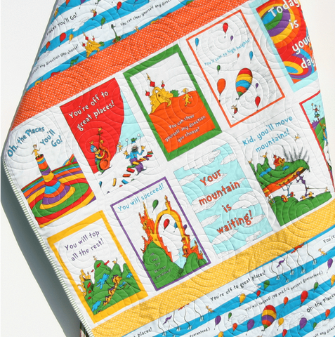 Kristin Blandford Designs Boy Quilts Oh the Places You'll Go Dr Seuss Bright Baby Quilt, Nursery Bedding, Baby Blanket