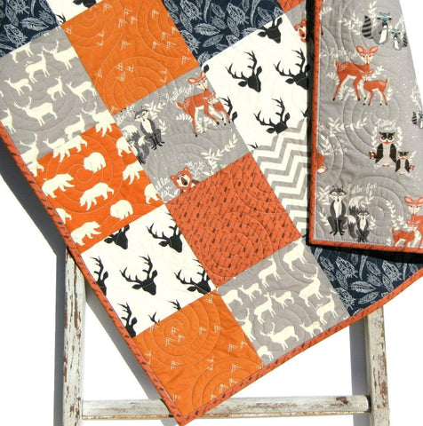 Kristin Blandford Designs Boy Quilts Orange Navy Quilt, Baby Boy Toddler Bedding Crib Blanket, Woodland Animals