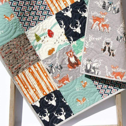 Kristin Blandford Designs Boy Quilts Rustic Baby Quilt, Nursery Bedding, Buck Deer Forest Animals, Personalize Monogram