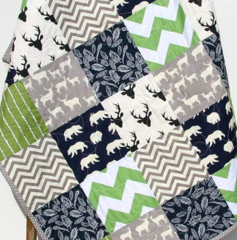 Kristin Blandford Designs Boy Quilts Rustic Woodland Quilt, Baby Boy Toddler Green Navy Blue Deer Stag