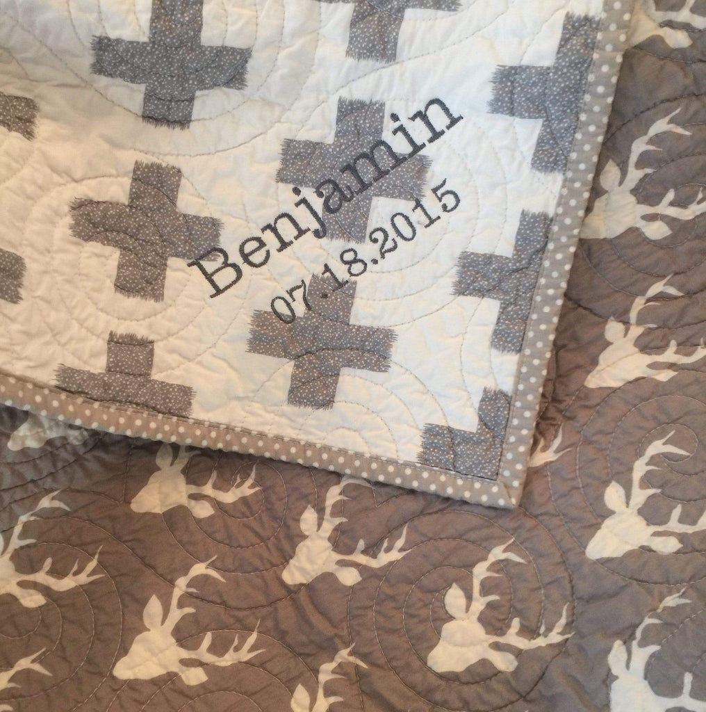 Kristin Blandford Designs Boy Quilts SALE Modern Crib Bedding, Quilts, Gray Buck Blanket, Buck Baby Quilt, for Sale, Deer Nursery Decor, Plus Signs, Geometric Minimalist Toddler