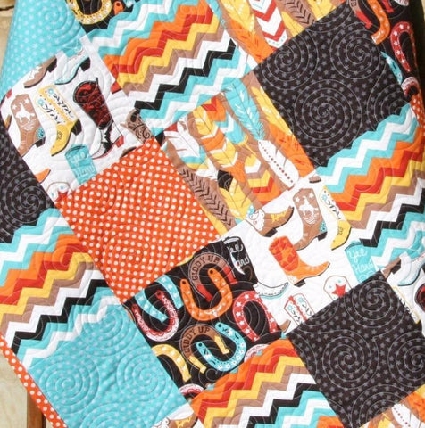 Kristin Blandford Designs Boy Quilts SALE Western Boys Quilt, Baby Quilt Homemade, Personalized Blanket, Crib Bedding, Cowboy Nursery, Boots Horseshoes Chevron Feathers Monogram