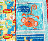 Kristin Blandford Designs Boy Quilts Swingin Safari Baby Quilt, Animal Bedding Blanket, Handmade Quilt