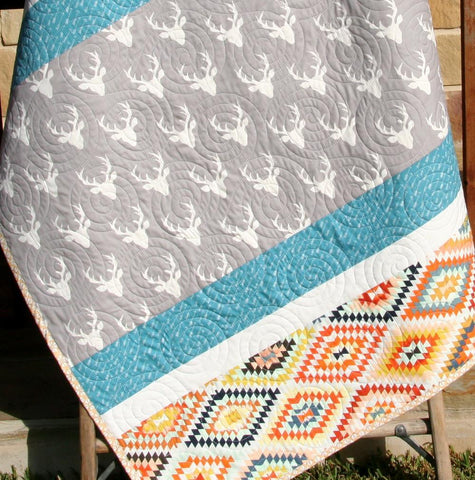 Kristin Blandford Designs Boy Quilts Tribal Deer Quilt, Baby Toddler Bed Blanket Modern Nursery