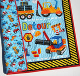 Kristin Blandford Designs Boy Quilts Truck Quilt, Boy Baby Blanket, Construction Nursery Bedding, Newborn Baby Shower Gifts for Him, Vehicles Crane Dump Truck Tractor, Handmade