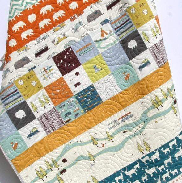 Kristin Blandford Designs Boy Quilts Woodland Boy Quilt, Forest Nursery Baby Bedding, Camp Sur Crib Blanket