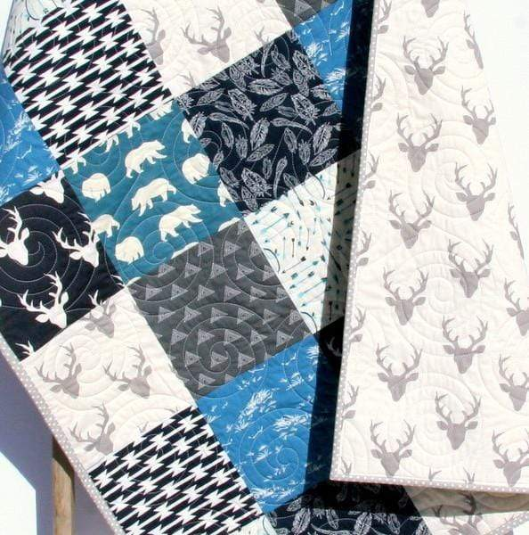 Kristin Blandford Designs Boy Quilts Woodland Boy Quilt, Navy Blue Nursery Bedding, Arrows Deer Buck Aztec