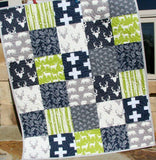 Kristin Blandford Designs Feathers Baby Quilt, Stag Blanket, Green, Gray, Plus Signs, Bear Baby Bedding, Woodland Nursery, Navy Blue Deer, Gift for Boy, Modern