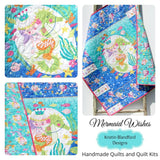 Kristin Blandford Designs Girl Quilts Baby Blanket, Nautical Crib Bedding, Mermaid Girls Quilt, Newborn Baby Gift, Ocean Nursery Theme
