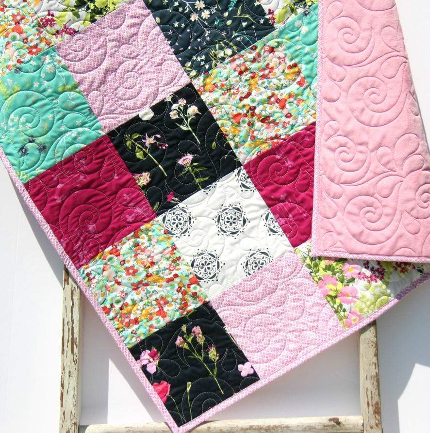 Kristin Blandford Designs Girl Quilts Baby Girl Personalized Blanket, Floral Quilt for Her, Minky Crib Bedding, Handmade Baby Shower Gift, Newborn Photo Props, Modern Unique
