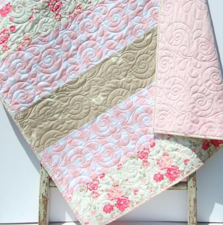 Kristin Blandford Designs Girl Quilts Baby Quilt, Floral Minky Blanket, Farmhouse Plaid, Flower Crib Bedding, Vintage Chic Roses, Handmade Modern Gift