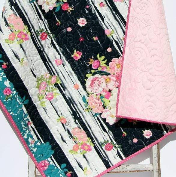 Kristin Blandford Designs Girl Quilts Boho Baby Quilt, Navy Girl Quilt, Floral Baby Blanket, Crib Bedding, Floral Crib Blanket