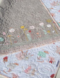 Kristin Blandford Designs Girl Quilts Bunny Baby Quilt, Littlest Pastel Grey Flowers Crib Bedding Blanket