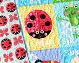 Kristin Blandford Designs Girl Quilts Butterfly Baby Quilt, Ladybug Nursery Bedding, Handmade Blanket, Newborn Girl Gift, Animals Owls Rainbow, Blue Pink Red, Baby Shower, Cot