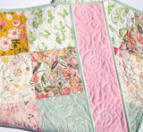 Kristin Blandford Designs Girl Quilts Cactus Minky Blanket, Baby Girl Quilt, Pink Nursery Bedding, Newborn Floral Shower Gift Handmade Patchwork Quilt Soft Boho Chic Personalized