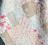 Kristin Blandford Designs Girl Quilts Farmhouse Baby Quilt, Floral Minky Blanket, Flower Crib Bedding, Vintage Chic Roses