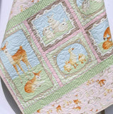 Kristin Blandford Designs Girl Quilts Forest Baby Quilt, Girl Baby Bedding, Woodland Nursery Blanket, Pastel Toddler Bedding