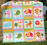 Kristin Blandford Designs Girl Quilts Girl Zoo Animal Quilt, Baby or Toddler Jungle Crib Bedding