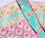 Kristin Blandford Designs Girl Quilts LAST ONE Baby Girl Quilt, Floral Nursery Bedding, Crib Blanket, Pink Aqua Roses, Baby Bedding